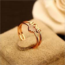 love shaped rings images Ladies adjustable cubic zirconia heart shaped rings love letter jpg