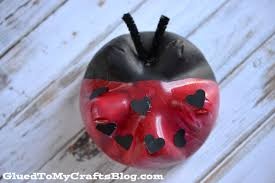 recycled soda bottle ladybug kid craft
