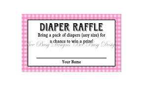 printable pink gingham diaper raffle tickets great for baby