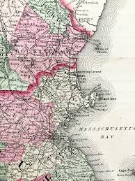 Massachusetts State Map by Vermont New Hampshire Massachusetts Connecticut State Map 1864