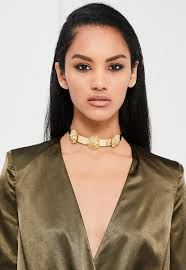 gold metal choker necklace images Peace love gold lion head metal choker necklace missguided jpg