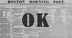 english newspaper pattern today in history o k enters the english language