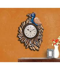 17 big wood wall clock handmade carved large peacock indian