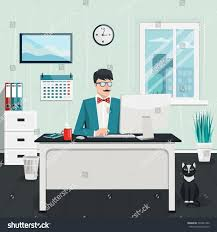 Conceptmodern Vector Flat Illustration Workplace Concept Modern Stock Vector