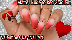 diy to red french tip gradient matte v day nail art youtube