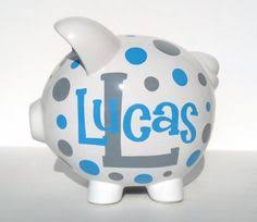 Monogram Piggy Bank Deluxe Paisley Personalized Piggy Bank Fast By Samseldesigns