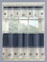 Nautical Valance Curtains Blue Nautical Curtains Valance Tiers Set Cape Cod Coastal Decor