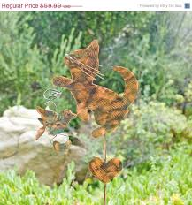 Cat Garden Decor Cat Decor And Bird Garden Stake Metal Yard Art Metal Garden