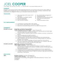 Job Resume Company by Best Inside Sales Resume Example Livecareer