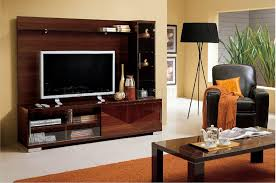 Tv Tables Wood Modern Modern Wall Unit In Walnut High Gloss Finish W Display Cabinet