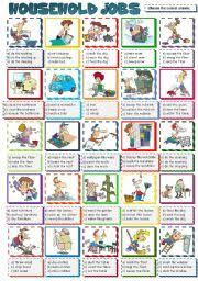 english worksheet household jobs multiple choice b u0026w included