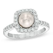 v shape diamond with fresh water pearl ring christine k jewelry pearl rings rings zales