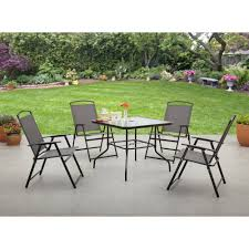 albany 5 piece outdoor folding dining set grey walmart com