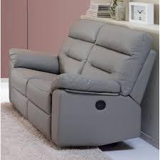 canapé cuir gris clair canapé de relaxation électrique cuir 2 places bali 160 cm gris