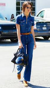 kendall jenner jumpsuit kendall jenner embraces the 70s in a denim jumpsuit instyle com