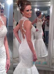 halter wedding dresses h1106 sheer tulle back halter lace mermaid wedding dress