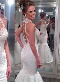 halter neck wedding dresses h1106 sheer tulle back halter lace mermaid wedding dress