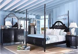 seaside black 6 pc queen poster bedroom traditional