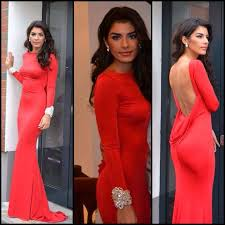 free shipping stylish backless red women formal party dresses