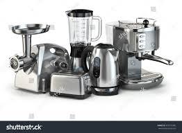 White Kettles And Toasters Metallic Kitchen Appliances Blender Toaster Coffee Stock
