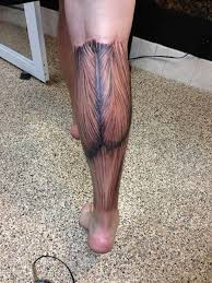 realistic colored muscles tattoo on back leg