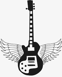guitar with wings black and white wing fly png image and clipart