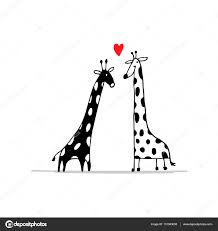 giraffes couple in love sketch for your design u2014 stock vector