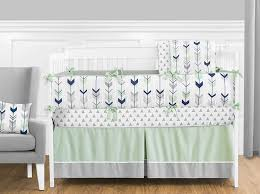 Deer Crib Sheets Amazon Com Grey Navy Blue And Mint Woodland Arrow 9 Piece Crib