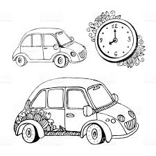 small cars black vector doodle cars and clock funny small car coloring book stock