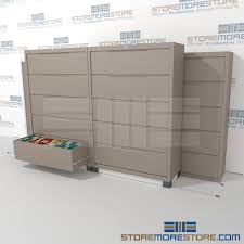Lateral File Cabinet With Storage 3 2 Rolling Lateral Filing Cabinets On Tracks 42 Wide Filing