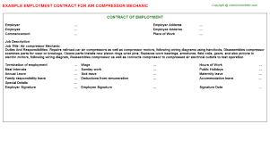 air compressor mechanic employment contract