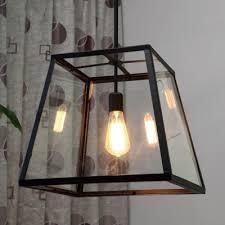 black lantern pendant light black 1 light led pendant with clear beveled glass lofts iron and