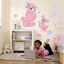 Eiffel Tower Wall Decals Pink Poodle In Paris Giant Wall Decals Birthdayexpress Com