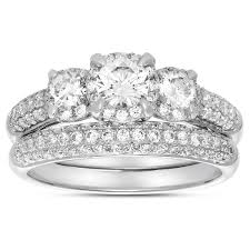 wedding ring sets for women 2 carat three trilogy diamond wedding ring set in