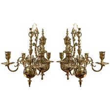 Wall Chandelier 19th Century Pair Of Four Brass Candle Chandelier Wall Sconces For