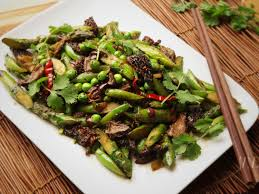 stir fried spring vegetables with black olives and sichuan