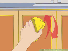 How To Remove Greasy Film From Kitchen Cabinets 3 Ways To Clean Greasy Kitchen Cabinets Wikihow