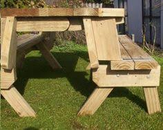 Folding Picnic Table Bench Plans Free by Picnic Table And Bench Seat Combination Section Plans Furniture