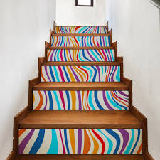 compare prices on striped wall decal online shopping buy low colorful stripes imitation 3d diy stairway stickers abstract wall decals pvc waterproof wall sticker home decor