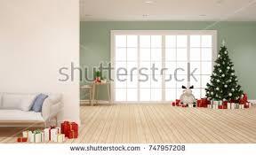 christmas interior living room christmas tree stock illustration