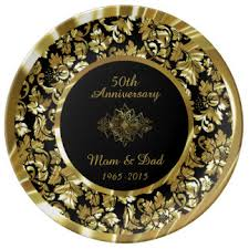 50th anniversary gold plate custom wedding anniversary porcelain plates