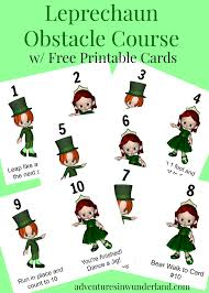 leprechaun obstacle course for kids with printable cards