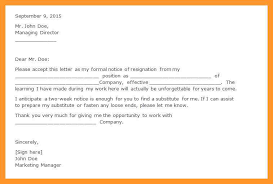 examples of resignation letters 2 weeks notice two week