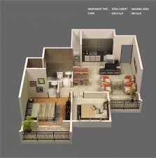 Small House Plans Indian Style 2 Bedroom House Plans 3d Apartments Floor View Plan Small Kerala