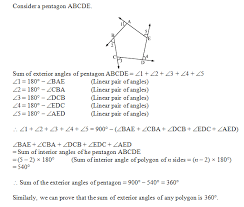 The Sum Of Interior Angles Prove That The Sum Of Exterior Angles Of A Polygon Is 360 Plz Hel