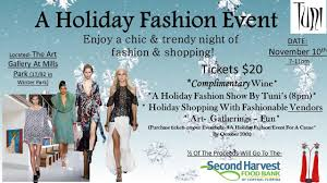a holiday fashion event for a cause at art gallery at mills park