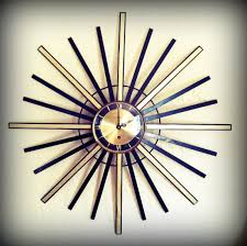 huge vintage 1960s starburst clock atomic eames era sunburst