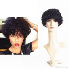 super short human curly lace front wigs 6inch black color natural