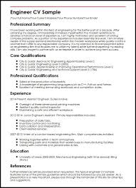 Quality Control Engineer Resume Sample by Engineering Cv Engineering Cv Template Engineer Manufacturing