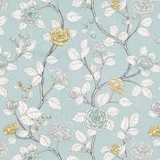 Blue Home Decor Fabric Light Aqua Blue Floral Linen Upholstery Fabric Blue Grey